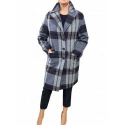 Cappotto Donna corto a quadri grigio/blu