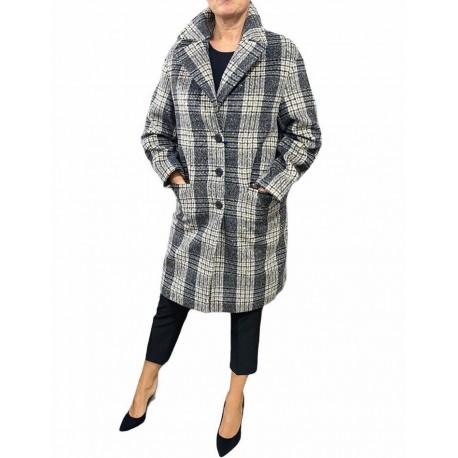 Cappotto Donna corto a quadri grigio scuro