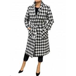 Cappotto Donna lungo con cinta a quadri bianco/nero
